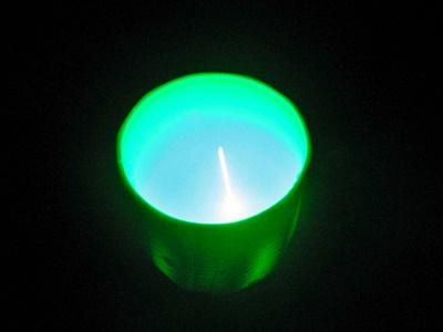 グリーンレーザー光とドライアイス, green laser and dry ice