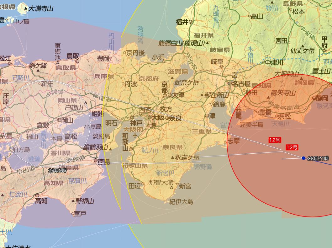 2018年7月28日(土)台風12号の進路予想(Yahoo!より), typhoon path by Yahoo